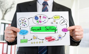 Paper showing social selling concept held by a businessman